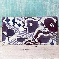Leather accent cotton batik wallet, 'Flowery Cheer' - Batik Printed Cotton and Leather Floral Wallet from India