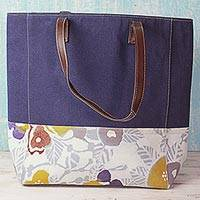 Leather trim cotton batik tote handbag, 'Floral Blue Summer' - Batik Printed Cotton and Leather Tote Handbag from India