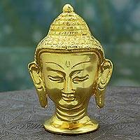 Gold plated brass figurine, 'Golden Siddhartha Head' - Hand Made Gold Plated Brass Buddha Head from India