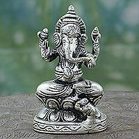 Sterling silver plated brass sculpture, 'Magnificent Ganesha' - Silver Plated Brass Sculpture of Ganesha from India