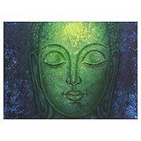 'Timeless Buddha' - Signed Oil and Acrylic Painting of Lord Buddha from India