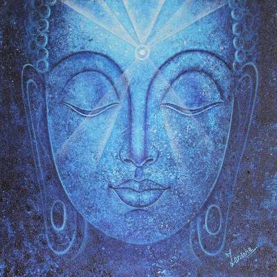 'Rising Into Enlightenment' - Original Buddha Acrylic Painting on Canvas from India