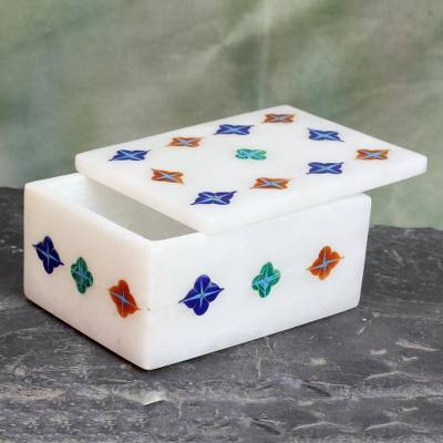 Marble inlaid jewelry box, 'Starry Garden' - Handmade Indian Marble Jewelry Box with Stone Inlay