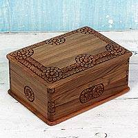 Walnut wood jewelry box, 'Garden of Circles' - Hand Carved Walnut Wood Jewelry Box with Floral Motif