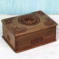 Walnut wood jewelry box, 'Floral Spheres' - Hand Carved Walnut Wood Jewelry Box from India