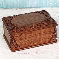 Walnut wood jewelry box, 'Chinar Glory' - Hand Carved Walnut Wood Jewelry Box from India