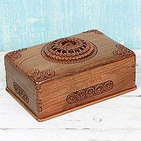 Walnut wood jewelry box, 'Majestic Allure' - Walnut Wood Hand Carved Floral Jewelry Box made in India