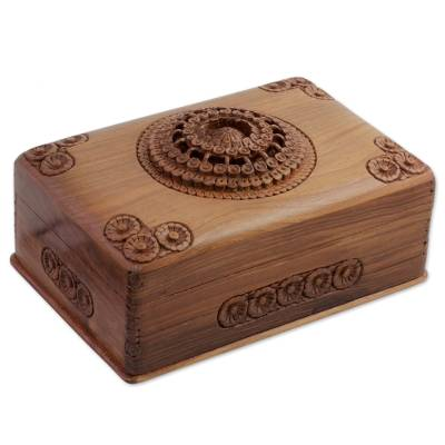 Walnut Wood Hand Carved Floral Jewelry Box made in India Majestic