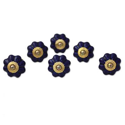 Ceramic cabinet knobs, 'Floral Beauties in Indigo' (set of 6) - Hand Made Ceramic Cabinet Knobs Floral Blue (Set of 6) India