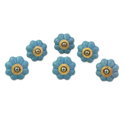 Ceramic cabinet knobs, 'Floral Beauties in Sky Blue' (set of 6) - Ceramic Cabinet Knobs Floral Sky Blue (Set of 6) from India