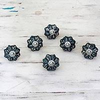 Ceramic cabinet knobs, 'Flower Harmony in Grey' (set of 6) - Ceramic Cabinet Knobs Floral Grey (Set of 6) India
