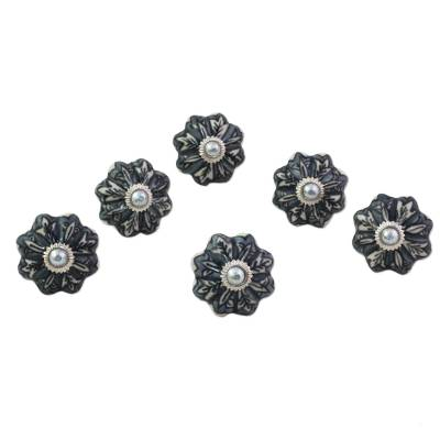 Ceramic cabinet knobs, 'Flower Harmony in Grey' (set of 6) - Ceramic Cabinet Knobs Floral Grey (Set of 6) India