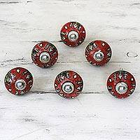 Ceramic cabinet knobs, 'Charming Red Flowers' (set of 6) - Ceramic Cabinet Knobs Floral Red (Set of 6) from India