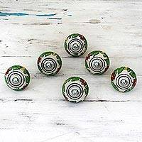Ceramic cabinet knobs, 'Kitchen Garden' (set of 6) - Ceramic Cabinet Knobs Floral Green (Set of 6) from India