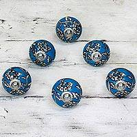 Ceramic cabinet knobs, 'Charming Blue Flowers' (set of 6) - Ceramic Cabinet Knobs Floral Blue and White (Set of 6) India