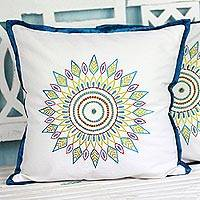 Embroidered cotton cushion covers,  'Leafy Circle' (pair) - Cotton Cushion Covers with Embroidered Leaves (Pair)