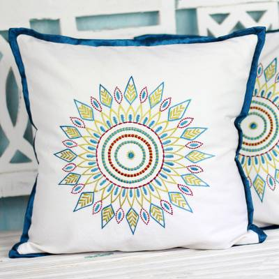 Cotton Cushion Covers with Embroidered Leaves (Pair), 'Leafy Circle'