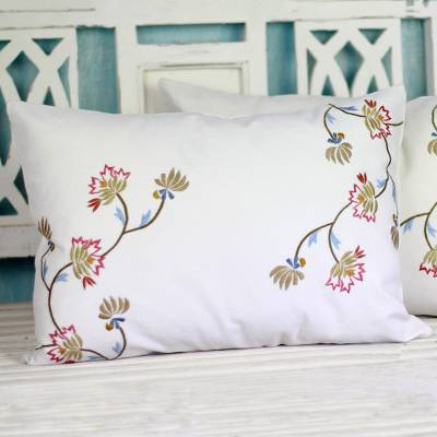 Cotton cushion covers, 'Floral Vines' (pair) - 100% Cotton Cushion Covers (Pair) Embroidered Flowers