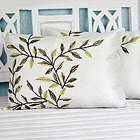 Polyester cushion covers, 'Alluring Green' (pair) - Leaf Cushion Cover Pair Made in India Embroidered