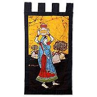 Batik cotton wall hanging, 'Pots of Water' - Rural Woman Batik Cotton Wall Hanging by India Artisan