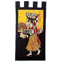 Featured review for Cotton batik wall hanging, Fresh Vegetable Vendor