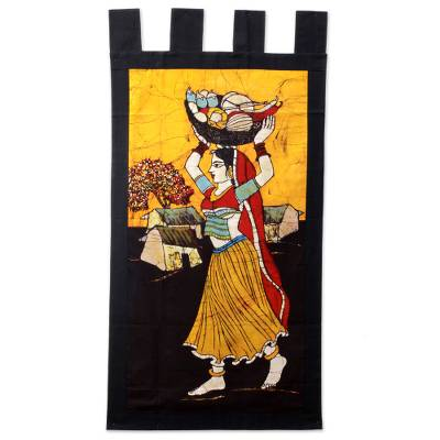 Cotton batik wall hanging, 'Fresh Vegetable Vendor' - Handmade Traditional Batik Cotton Wall Hanging from India