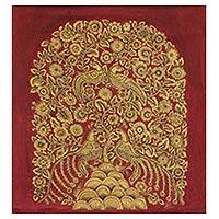 Kalamkari painting, 'Golden Spring II' - Red and Gold Indian Acrylic on Canvas Painting of Nature