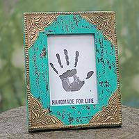 Wood photo frame, 'Majestic Turquoise' (5x7) - Blue Wood Glass Brass Floral 5x7 Photo Frame from India