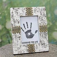 Wood photo frame, 'White Elegance' (5x7) - White Wood Glass and Brass Photo Frame (5x7) from India