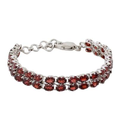 41 Garnets on 925 Silver Tennis Bracelet Jewelry from India