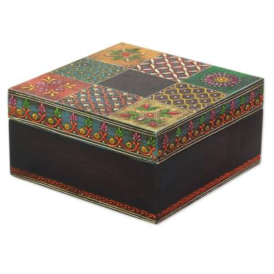 Indian Artisan Crafted Painted Wood Decorative Box And Lid Jodhpur Awesome Decorative Wooden Boxes With Lids