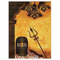 'Shiva Lingam II' - Brown and Orange Hindu Art Painting with Symbols of Shiva