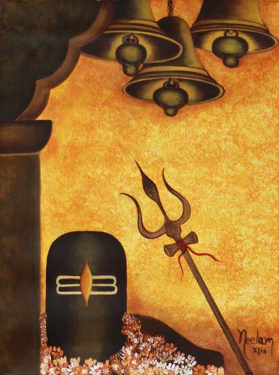 Brown And Orange Hindu Art Painting With Symbols Of Shiva Shiva