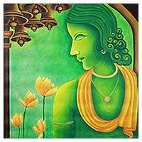 'Krishna Vasudeva' - Signed Expressionist Hindu Art Painting in Green