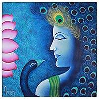 'Blue Majesty' - Original Signed Krishna and Peacock Painting in Blue