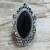 Onyx cocktail ring, 'Lover's Midnight Gaze' - Hand Made Sterling Silver Onyx Cocktail Ring from India (image 2b) thumbail