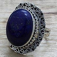 Lapis lazuli cocktail ring, 'Swirling Sky'