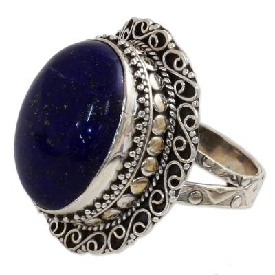 Lapis lazuli cocktail ring, 'Swirling Sky' - Hand Made Sterling Silver Lapis Lazuli Cocktail Ring India