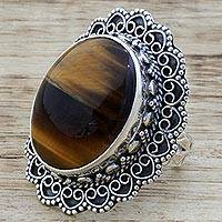 Tiger's eye cocktail ring, 'Halo of Petals' - Hand Made Sterling Silver Tiger's Eye Cocktail Ring India