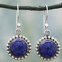 Lapis lazuli dangle earrings, 'Deep Blue Majesty' - Lapis Lazuli and Sterling Silver Gemstone Dangle Earrings