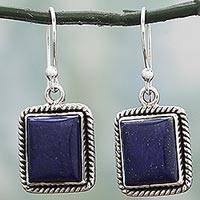 Lapis lazuli dangle earrings, 'Blue Frame' - Lapis Lazuli Sterling Silver Rectangle Dangle Earrings