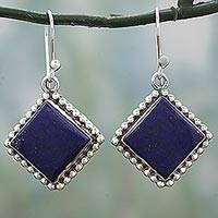 Lapis lazuli dangle earrings, 'Blue Kite' - Kite Shaped Sterling Silver Lapis Lazuli Dangle Earrings