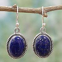 Lapis lazuli dangle earrings, 'Deep Blue Grandeur' - Oval Lapis Lazuli and Sterling Silver Dangle Earrings