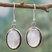 Rainbow moonstone dangle earrings, 'Lunar Goddess' - Rainbow Moonstone and Sterling Silver Dangle Earrings
