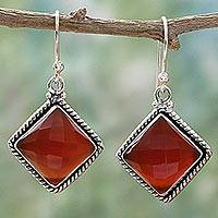 Carnelian dangle earrings, 'Fiery Kite' - Carnelian and Sterling Silver Diamond-Shaped Dangle Earrings