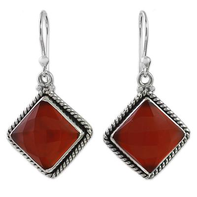 Carnelian and Sterling Silver Diamond-Shaped Dangle Earrings