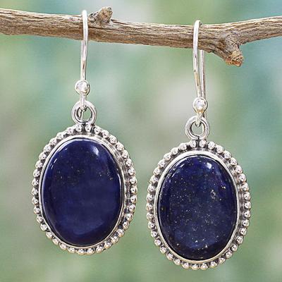 Lapis lazuli dangle earrings, 'Blue Royalty' - Lapis Lazuli Dangle Earrings with Gold coloured Flecks