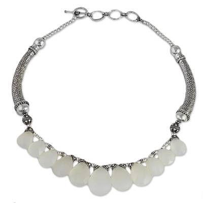 White Chalcedony and Sterling Silver Choker Necklace
