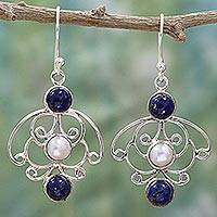 Cultured pearl and lapis lazuli dangle earrings, 'Blue Exotica' - Sterling Silver Dangle Earrings with Lapis Lazuli and Pearl