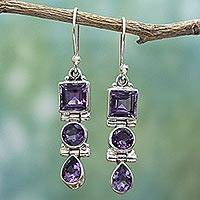 Amethyst dangle earrings, 'Lavender Glamour' - Three Stone Faceted Amethyst Sterling SIlver Dangle Earrings